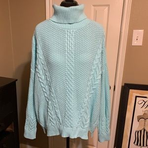 Robin egg blue cable cable turtleneck sweater